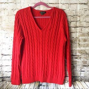 Lauren Ralph Lauren Red Chunky V-neck Plus Sweater